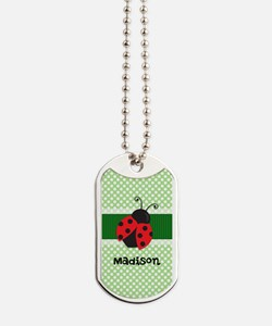 Personalized Ladybug on Green Polka Dots Pattern D