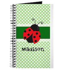 Personalized Ladybug on Green Polka Dots Pattern J