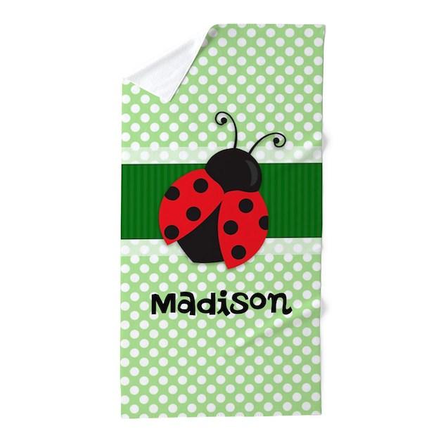 Personalized Ladybug On Green Polka Dots Pattern B By