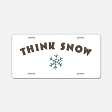 Think Snow Aluminum License Plate