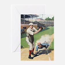 Unique Baseball catcher Greeting Card
