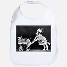vintage dog kittens baby carriage black white Bib