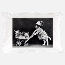 vintage dog kittens baby carriage blac Pillow Case