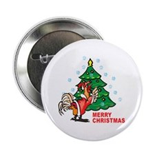 Rooster Christmas Button