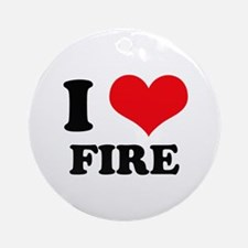 I Heart Fire Ornament (Round)