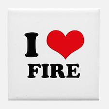 I Heart Fire Tile Coaster
