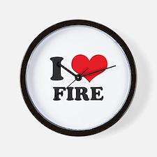 I Heart Fire Wall Clock