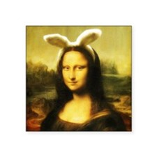 "Mona Lisa, The Easter Bunny Square Sticker 3"" x 3"""