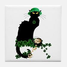 Le Chat Noir, St Patricks Day Tile Coaster