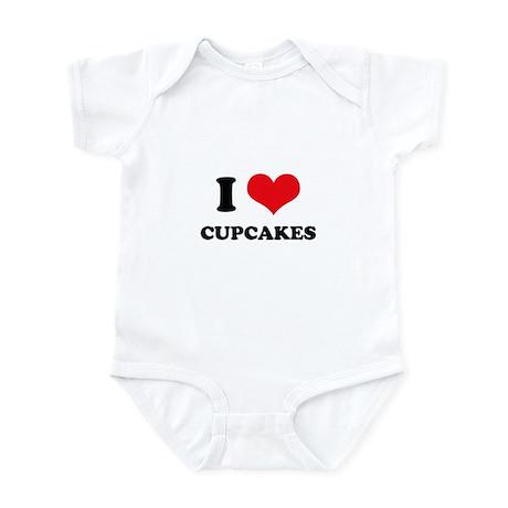I Love Heart Cupcakes Infant Bodysuit