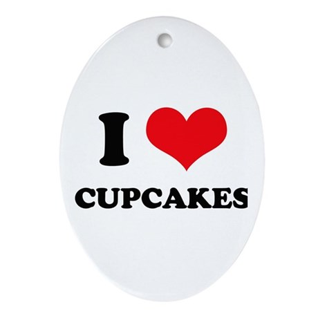 I Love Heart Cupcakes Oval Ornament