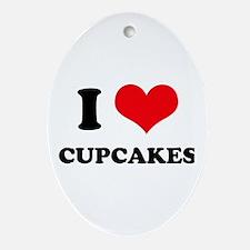 I Love Heart Cupcakes Oval Ornament