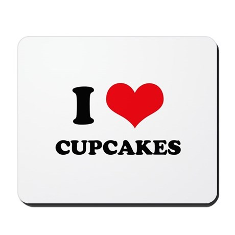 I Love Heart Cupcakes Mousepad