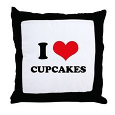 I Love Heart Cupcakes Throw Pillow