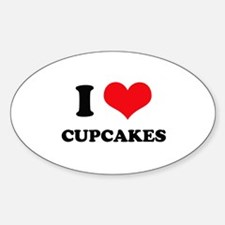 I Love Heart Cupcakes Oval Decal