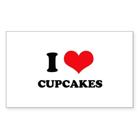 I Love Heart Cupcakes Rectangle Sticker