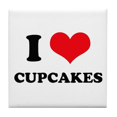 I Love Heart Cupcakes Tile Coaster