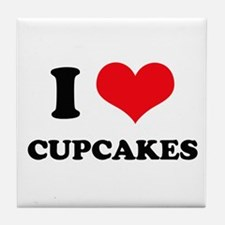 I Love Heart Cupcakes Tile Coaster