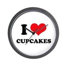 I Love Heart Cupcakes Wall Clock
