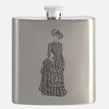 1800s vintage bustle woman Flask