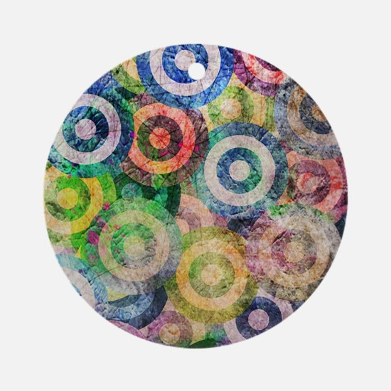 Multi Color Grunge Circles Patter Ornament (Round)