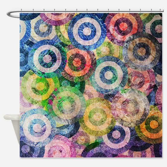 Multi Color Grunge Circles Pattern Shower Curtain