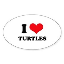 I Love Heart Turtles Oval Decal