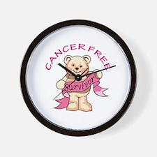 CANCER FREE BEAR Wall Clock