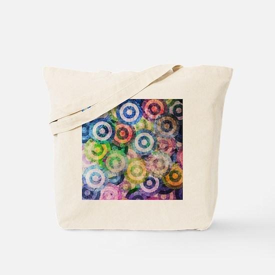 Multi Color Grunge Circles Pattern Tote Bag