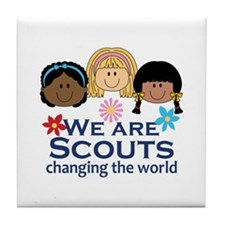 We Are Scouts Changing The World Tile Coaster