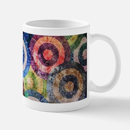 Multi Color Grunge Circles Pattern Mugs