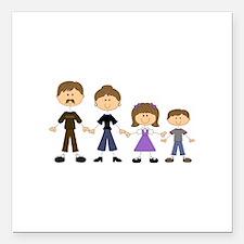 "STICK FIGURE FAMILY Square Car Magnet 3"" x 3"""