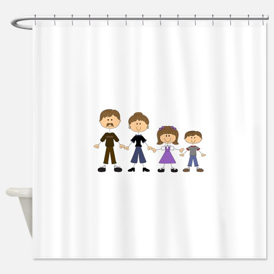 STICK FIGURE FAMILY Shower Curtain