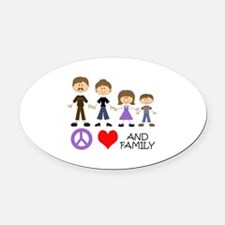 Peace Love And Family Oval Car Magnet