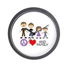 Peace Love And Family Wall Clock