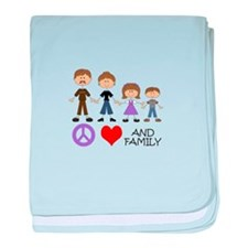 Peace Love And Family baby blanket