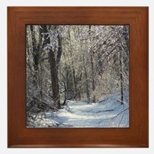 Icy Snow Trail Framed Tile