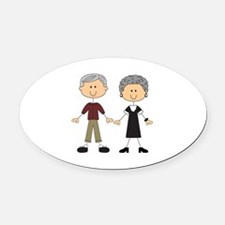 GRANDPA AND GRANDMA Oval Car Magnet