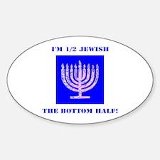 Half Jewish 3 2 clear Decal