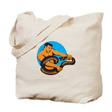 Man Fighting Boa Constrictor Snake Retro Tote Bag