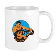 Man Fighting Boa Constrictor Snake Retro Mugs