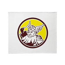 Norse God Odin Raven Circle Throw Blanket