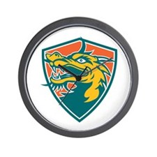 Chinese Dragon Head Shield Retro Wall Clock