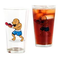 Dog Boxing Drinking Glass