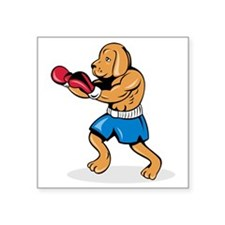 "Dog Boxing Square Sticker 3"" x 3"""