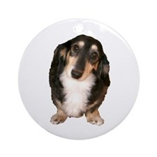 Black Tan Longhaired Dachshund Ornament (Round)