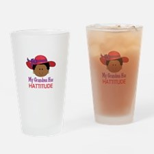 GRANDMA HAS HATTITUDE Drinking Glass