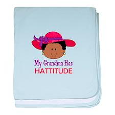 GRANDMA HAS HATTITUDE baby blanket