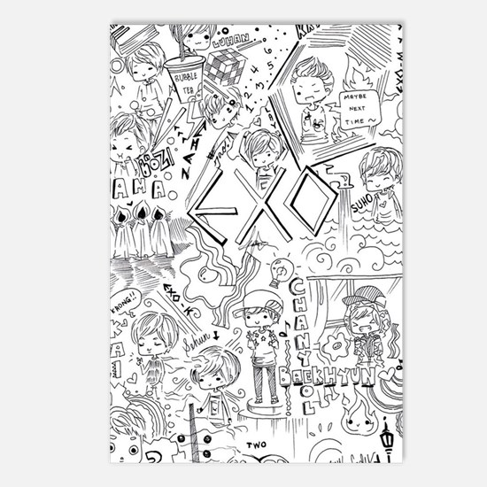 EXO Doodle Postcards Package Of 8