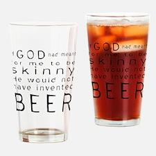 Skinny Beer Black Letters Drinking Glass